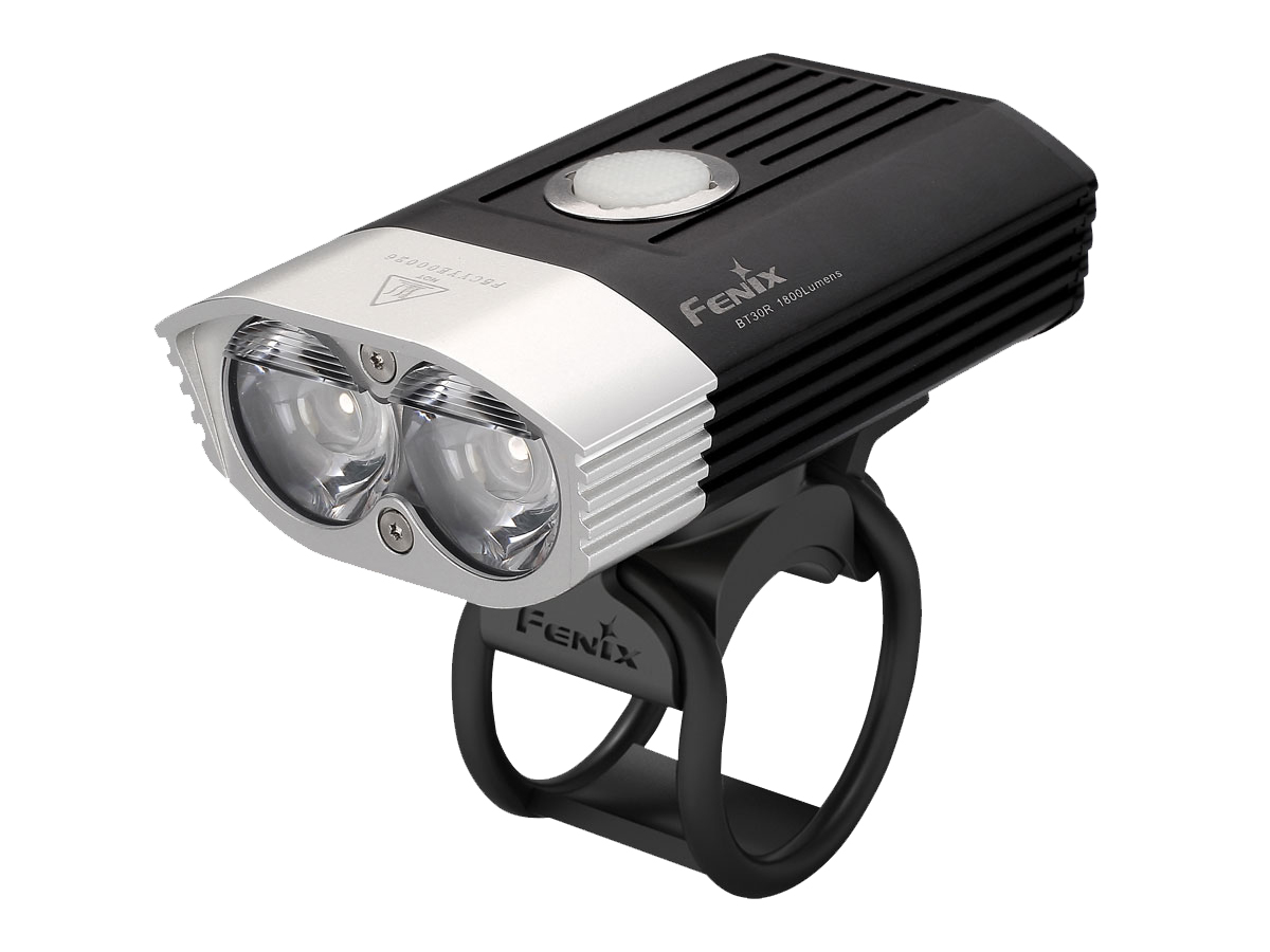 Fenix BT30R bike light on mount left side angle
