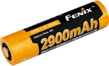 Fenix 2900L 18650 Battery - 2900mAh 3.6V Cold Resistant Protected Lithium Ion (Li-ion) Button Top Battery - Clam Shell