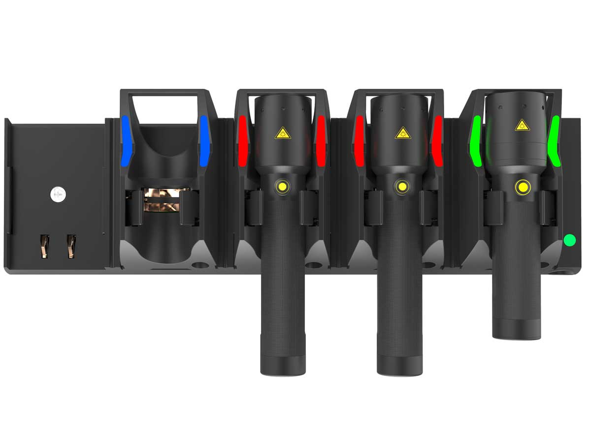 Charging station with flashlights in it