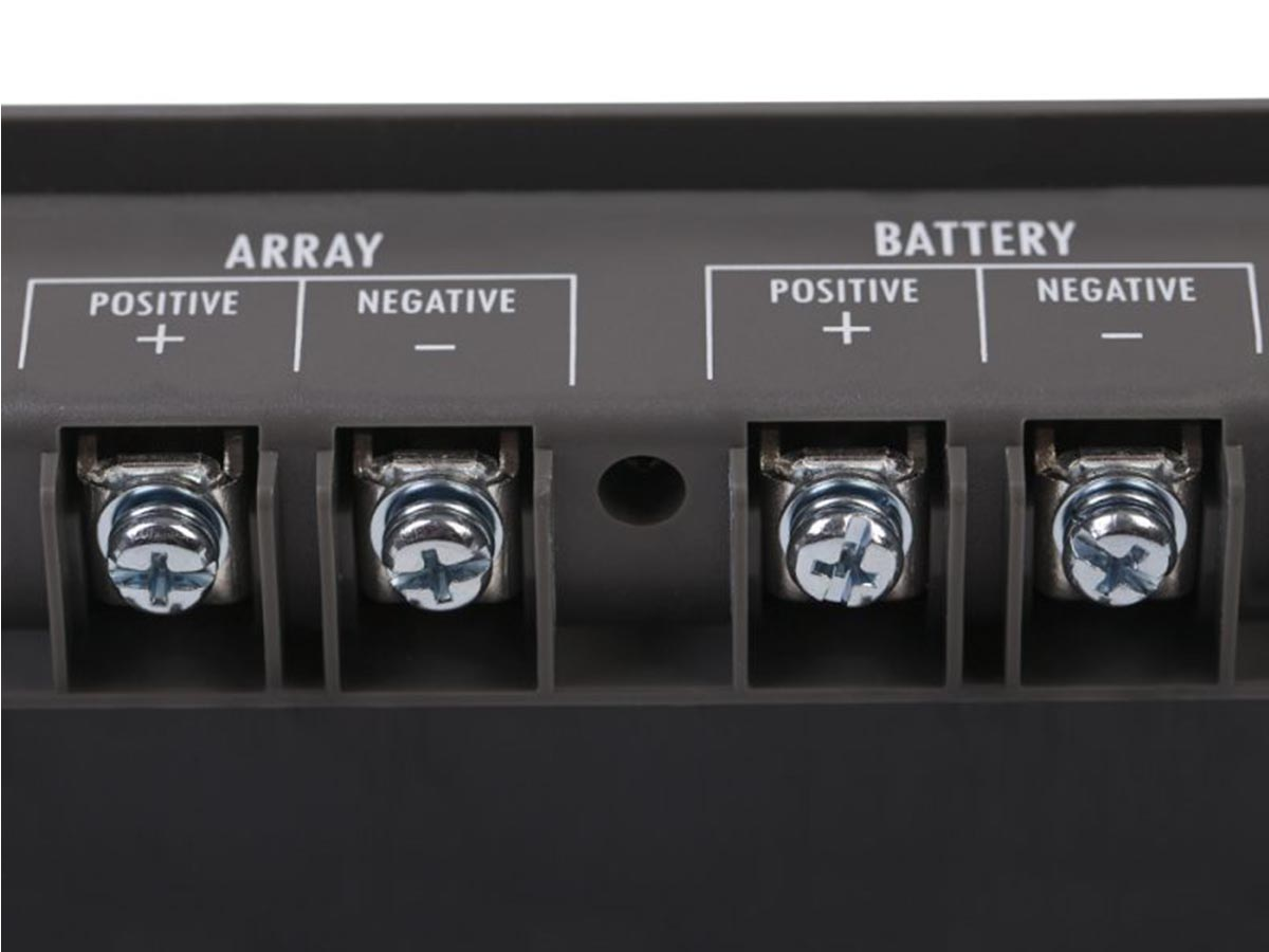 Sunforce 60022 Solar Charger Controller close up of postive and negative arrays and battery ports