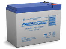 Power-Sonic AGM General Purpose PS-12100H 10.5Ah 12V Rechargeable Sealed Lead Acid (SLA) Battery - F2 Terminal