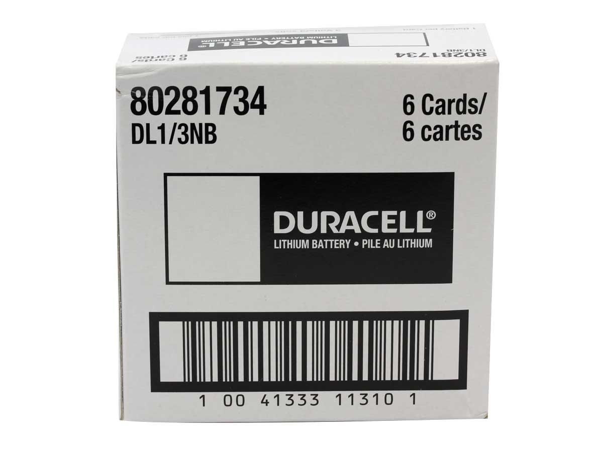 Back of retail card for Duracell CR1/3N coin cell