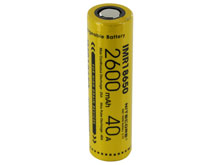 Nitecore IMR 18650 2600mAh 3.7V Unprotected High-Drain 40A Lithium Manganese (LiMn2O4) Flat Top Battery - Boxed