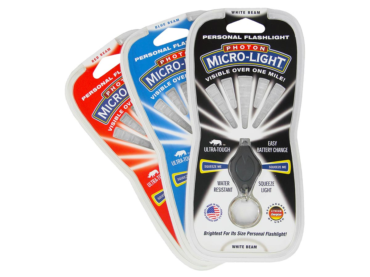 LRI Photon Covert LED Keylight - Blue, Red or White LED retail packaging with varying colors