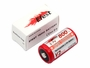 Size comparison of battery and box for Efest IMR 18650 button top battery