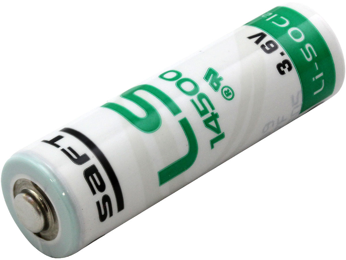 Angle Shot of the Saft 14500 Lithium Thionyl Chloride Battery