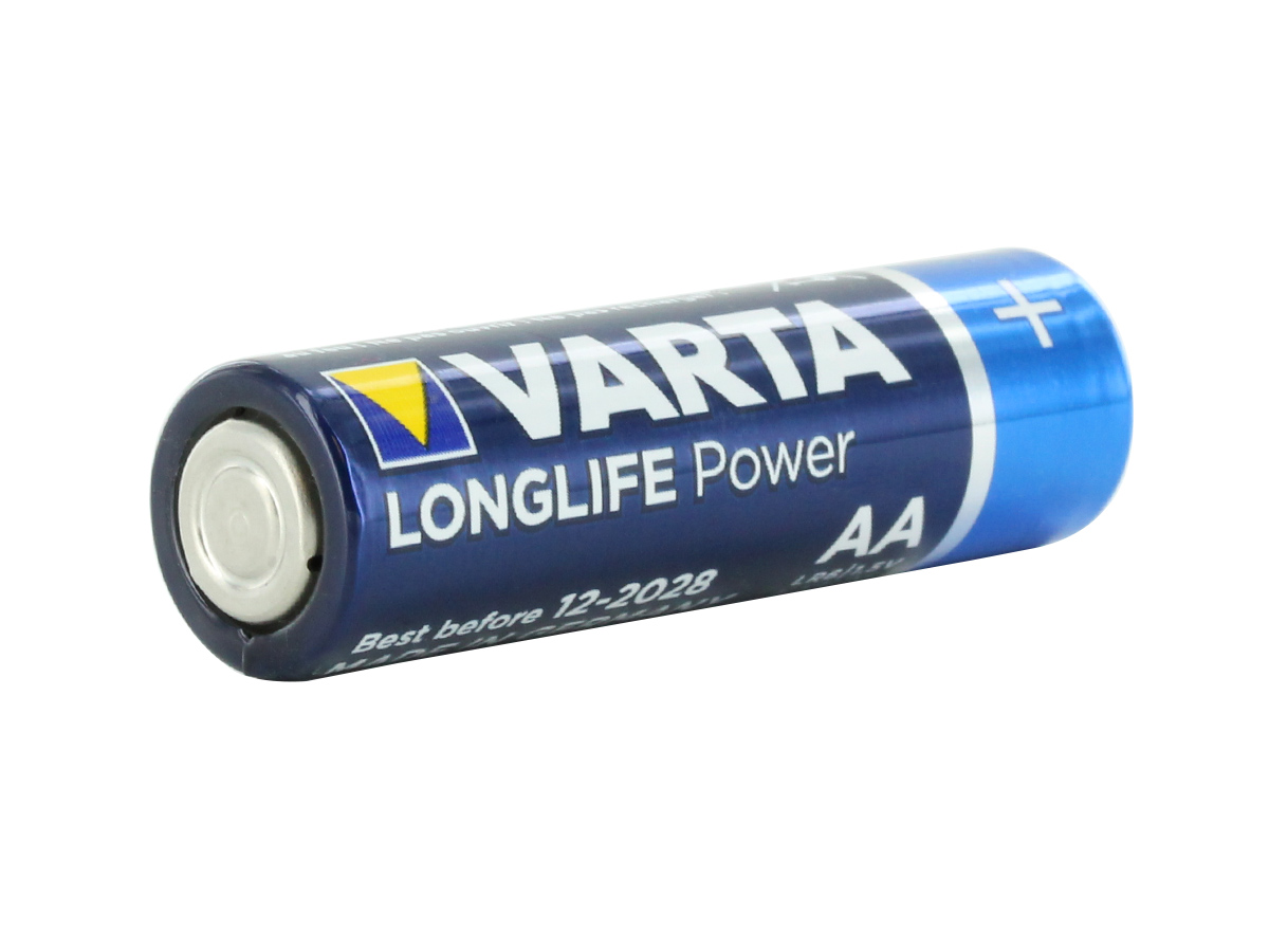 Varta Long Life Power V4906 AA 1.5V Alkaline Button Top Battery - Bulk at an angle from negative side