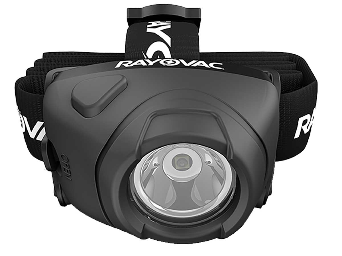 LED bulb and activation switch on the Rayovac headlamp