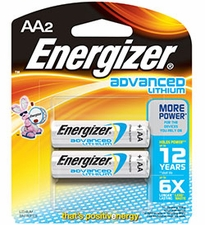 Energizer Advanced EA91-BP-2 AA 3000mAh 1.5V Lithium Iron (LiFeS2) Button Top Batteries - 2 Pack Retail Card