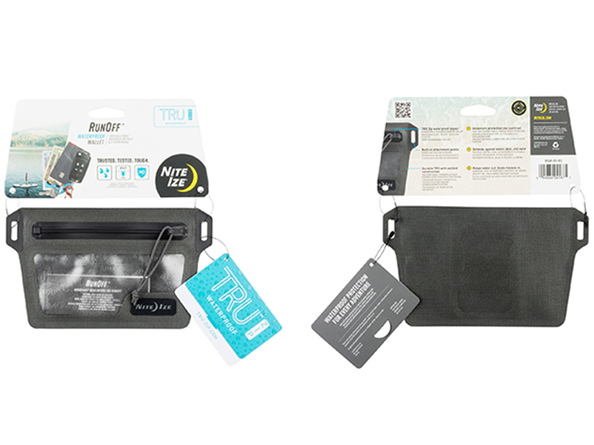 nite ize waterproof wallet retail packaging showing front and back