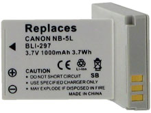 Empire BLI-297 1000mAh 3.7V Replacement Lithium Ion (Li-Ion) Digital Camera Battery Pack for the Canon NB-5L
