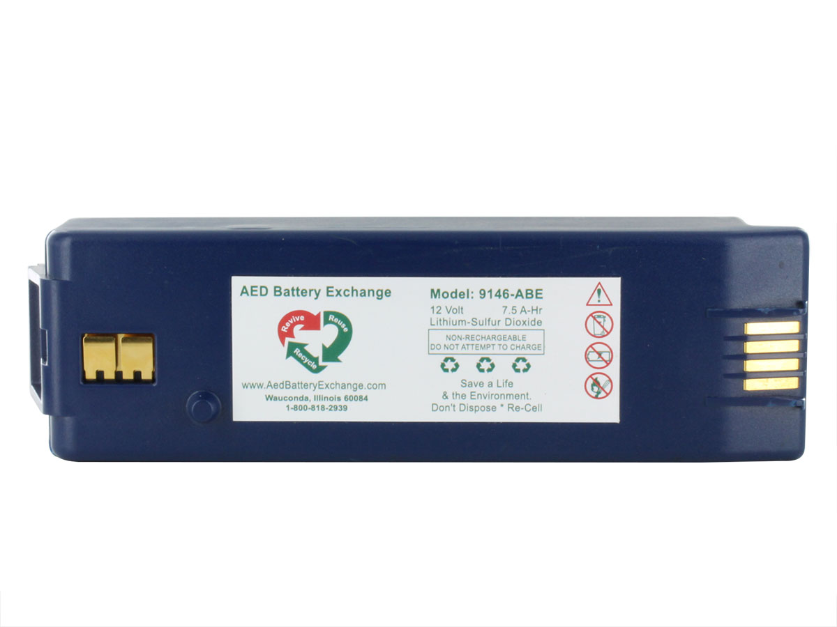 Cardiac Science AED Replacement Battery Pack 9146 - Blue - showing the label and specs