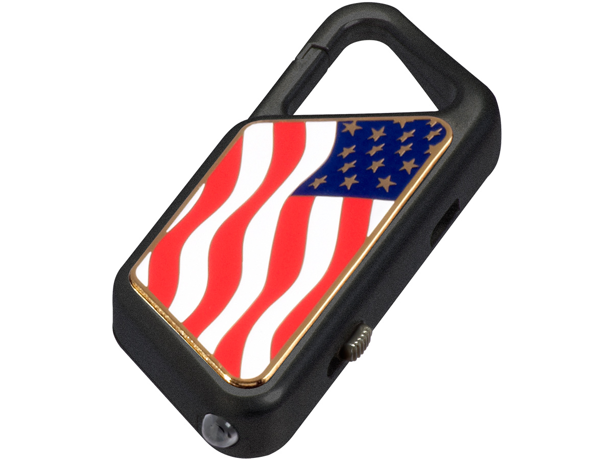 ASP Poly Sapphire USB Keychain light with American Flag print