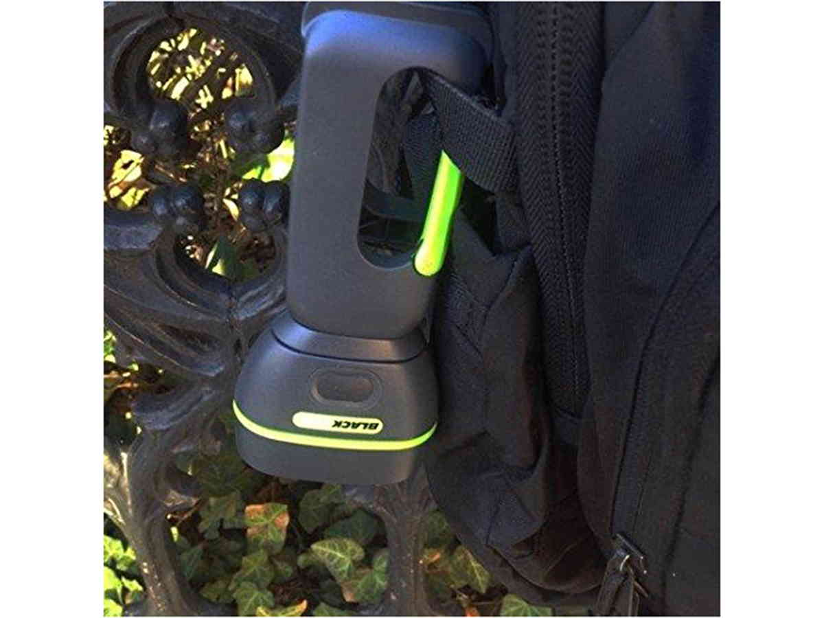 Blackfire Firefly Clamplight attached to a backpack
