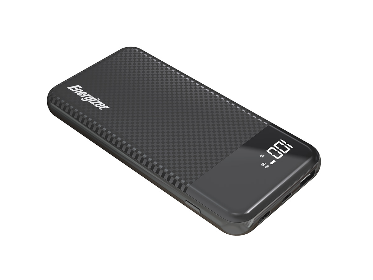 energizer ue10037pq power bank black laying flat at an angle