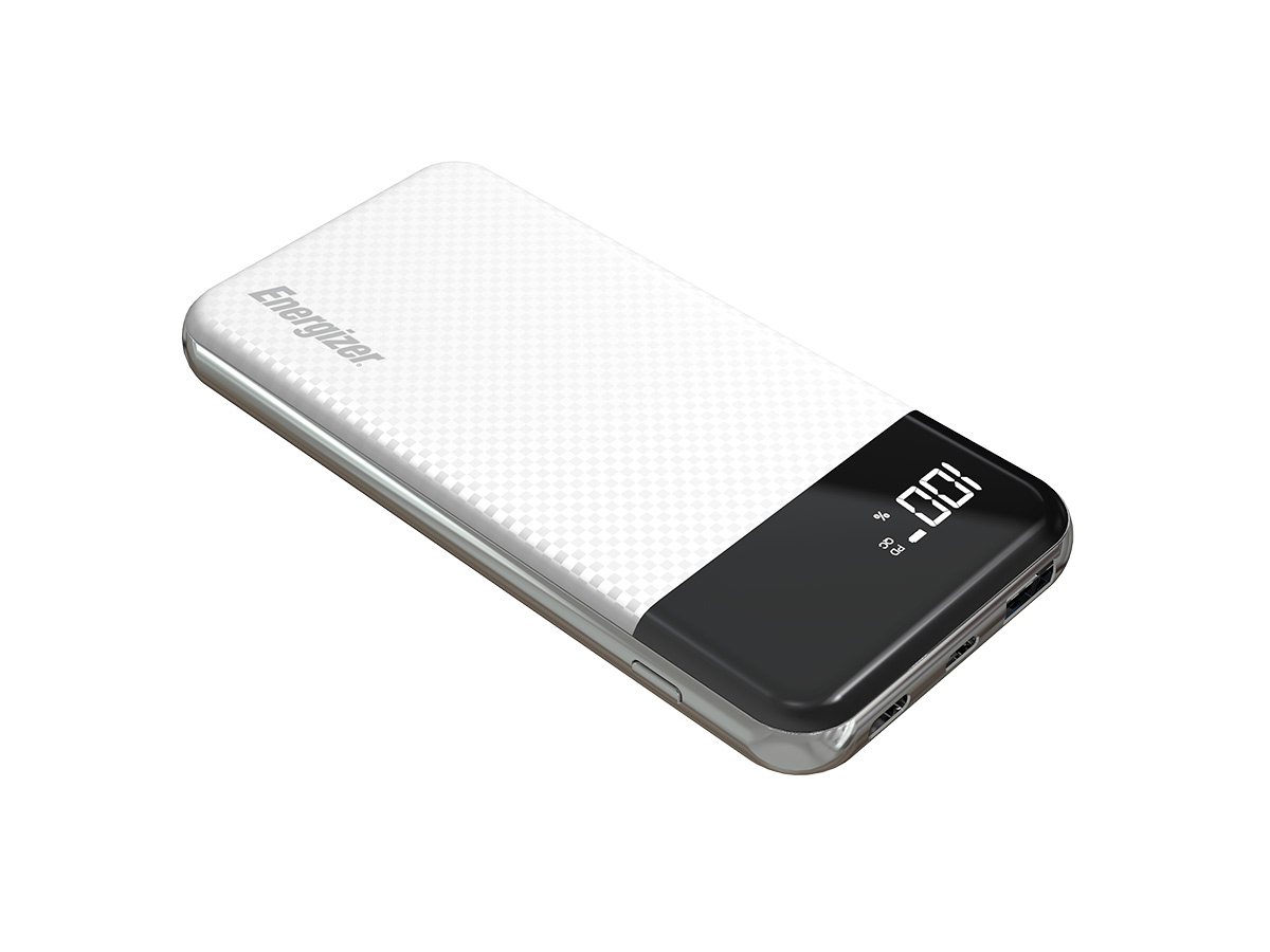 energizer ue10037pq power bank white laying at an angle