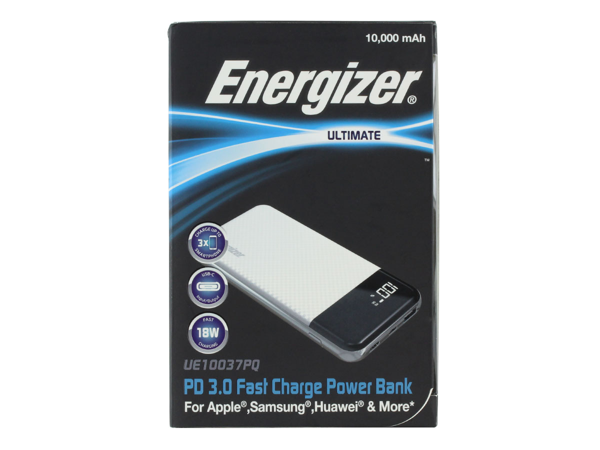 energizer ue10037pq power bank white - front of retail package