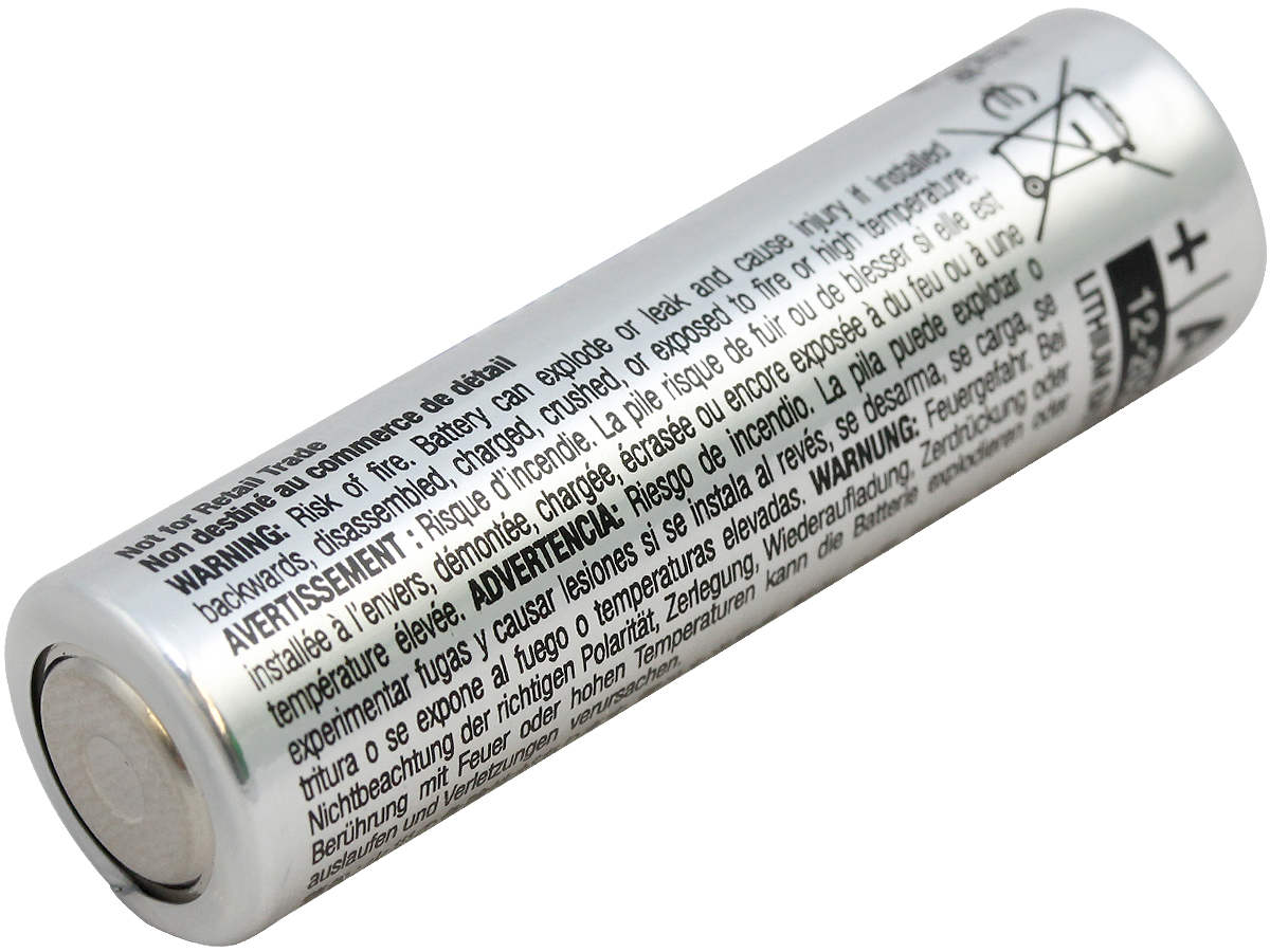 Single Energizer Ultimate L91 AA battery left side angle