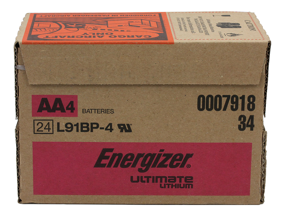 Shipping container for bulk orders of Energizer Ultimate L91 AA batteries