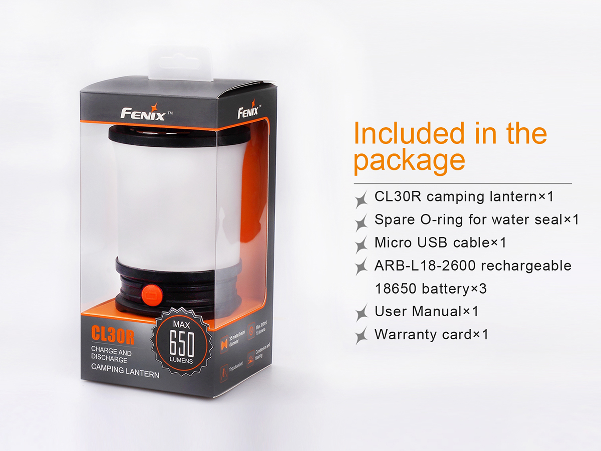 Slide four for Fenix CL30R lantern