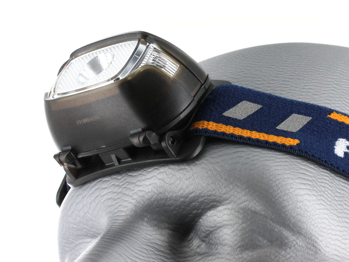 Fenix HL15 headlamp on head bottom view