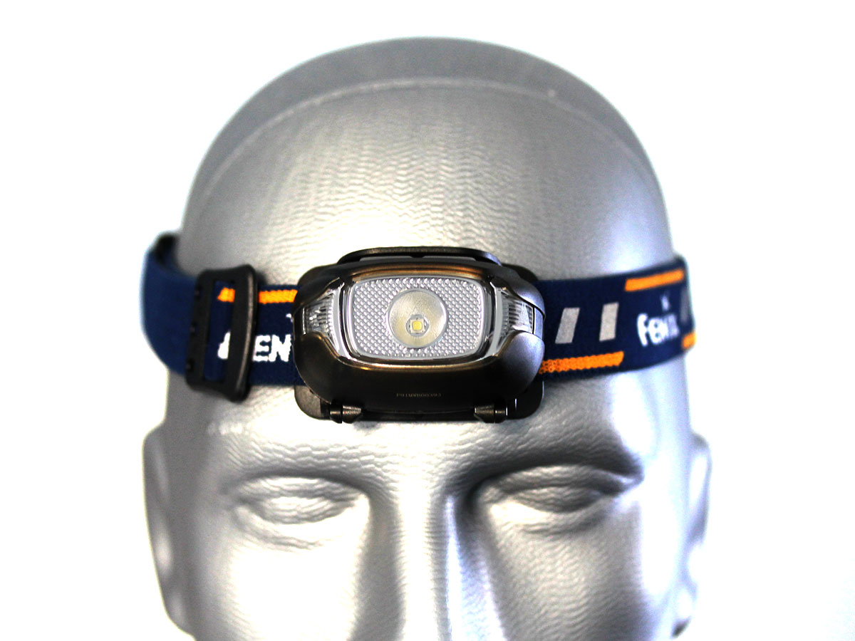 Fenix HL15 headlamp on head front view