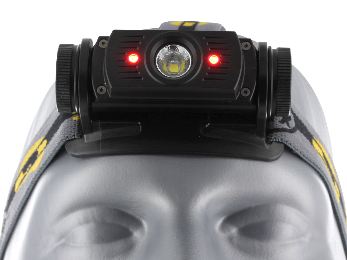 Close up front view of Fenix HL60R headlamp with red LEDs activated