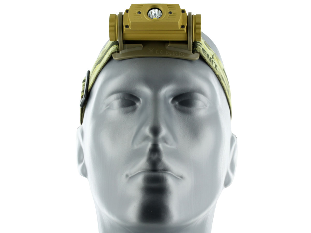 Front view of Fenix HL60R headlamp in yellow