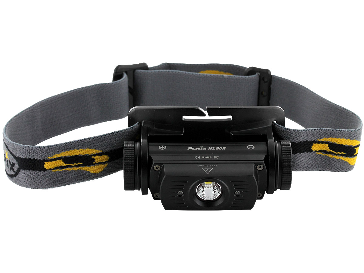 Top down view of Fenix HL60R headlamp in black
