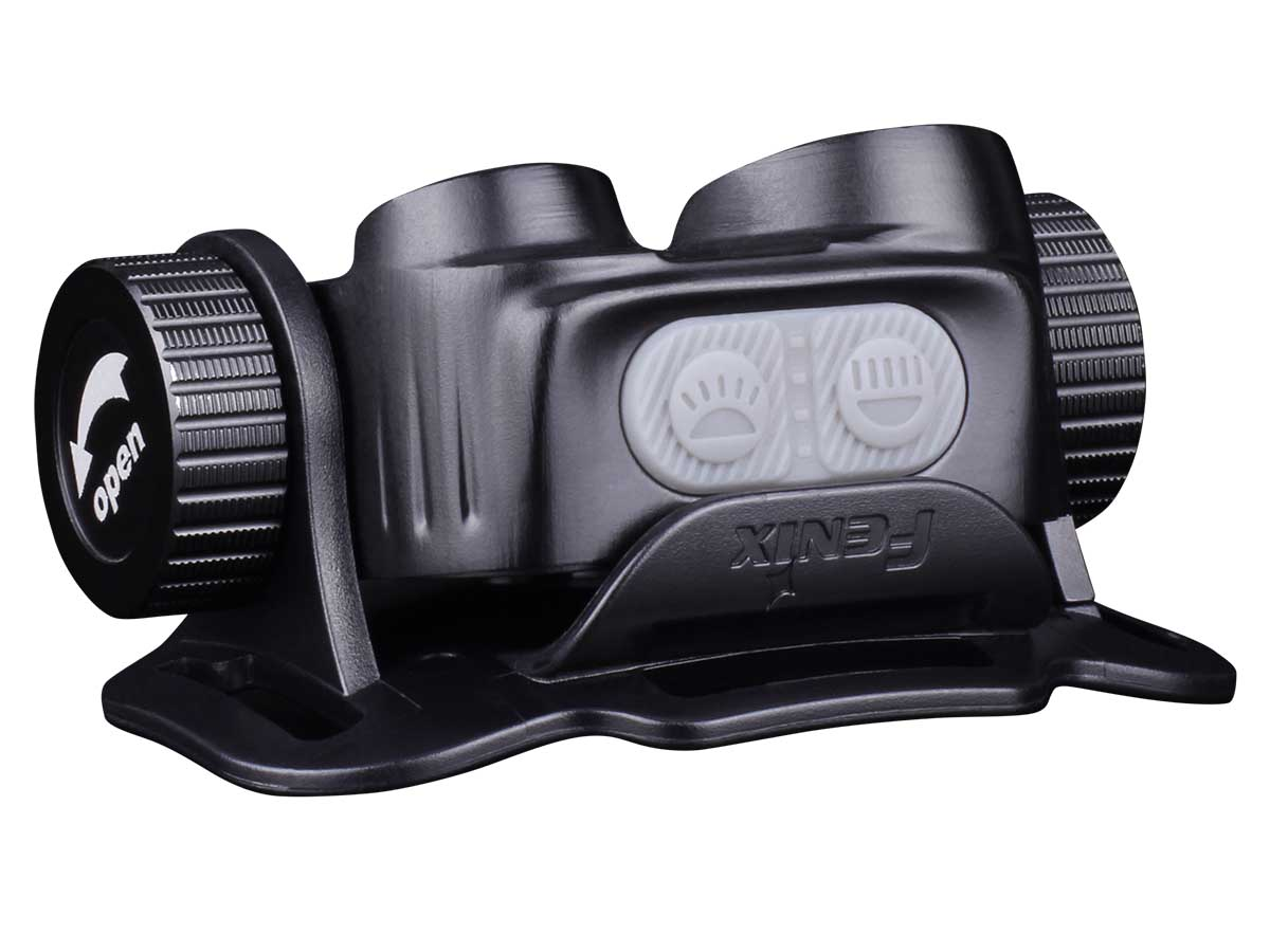 Fenix HM65R headlamp with view of dual switch design