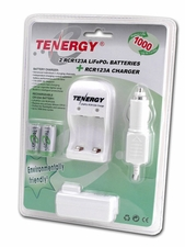 Tenergy LiFePO4 RCR123A / 16340 750mAh 3.0V Unprotected Lithium Ion (Li-ion) Button Top Battery - 2-Piece Blister Pack (30203)