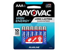 Rayovac 824-6HEF High Energy (6PK) AAA 1.5V Alkaline Button Top Batteries - 6 Pack Retail Pack