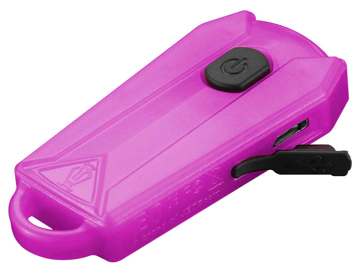 JETBeam E0 keylight in pink left side angle with USB port visible