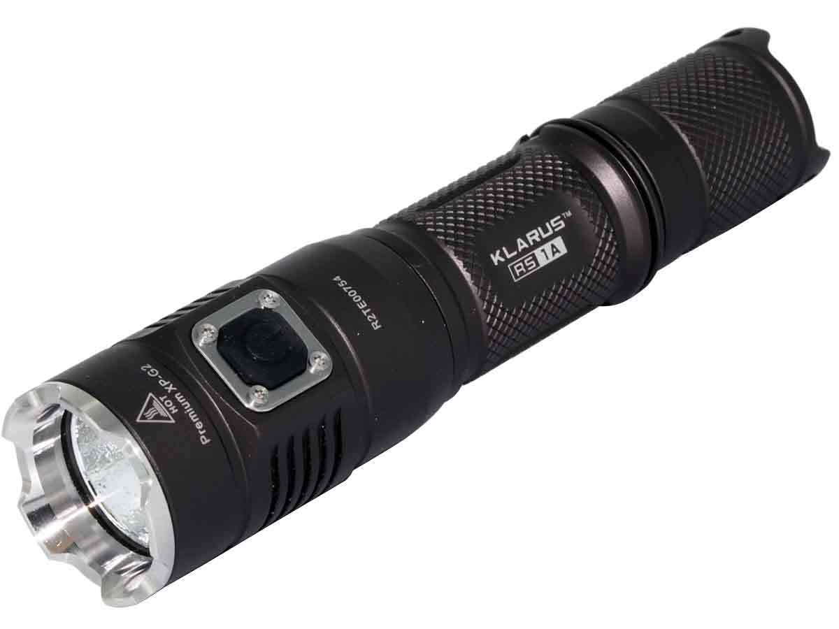Klarus RS1A flashlight left side angle