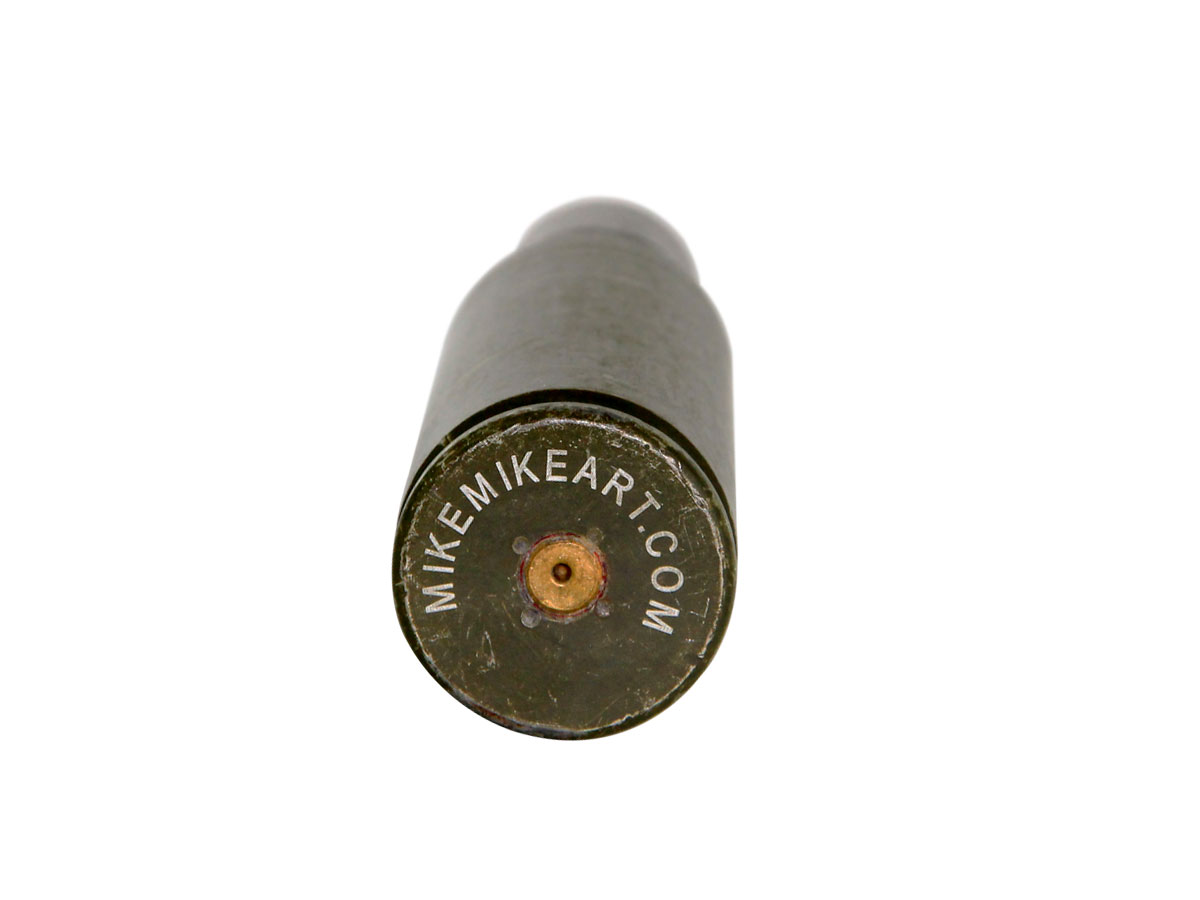 MikeMikeART Mil Spec 25mm Bottle Opener bottom of or tail end of the round or bottle opener with visible firing point and mikemikeart.com branding