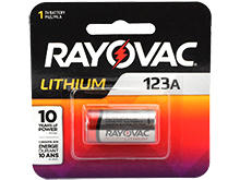 Rayovac Specialty CR123A 1400mAh 3V Lithium (LiMNO2) Photo Battery - 1 Piece Retail Card (RL123A-1G)