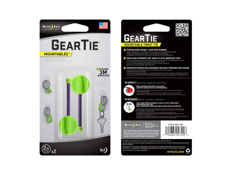 Retail Card Packaging for Nite Ize Gear Tie Mountables