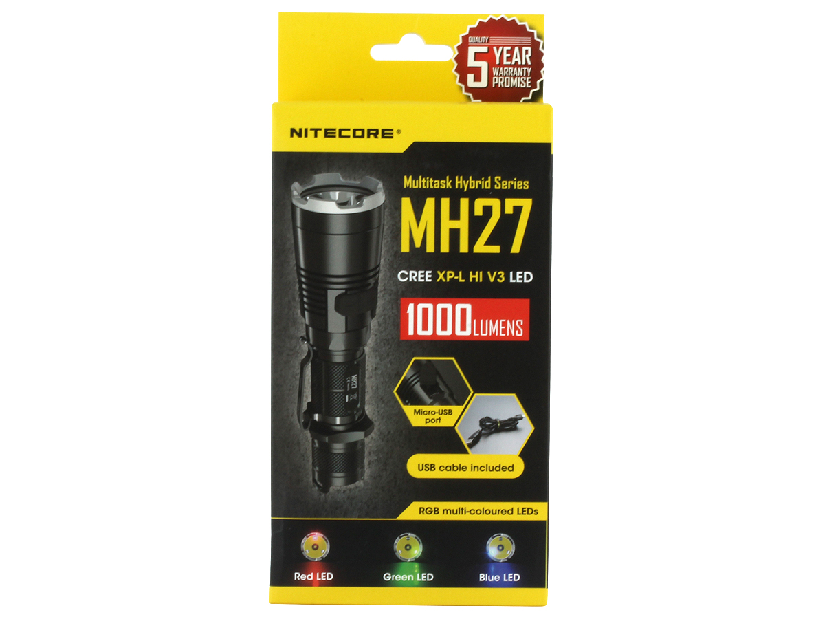 The Nitecore MH27 Comes in Retail Box Packaging