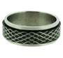 Cross Etched Pattern Black Tone Stainless Steel Spin Ring 7 - 15