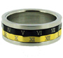 Gold Silver Black Tone Roman Numerals Stainless Steel Spin Ring 7 - 12