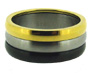 Gold Silver and Black Color Stainless Steel Spin Ring 6 - 13