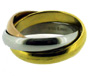 Gold Silver and Rose Tri-Color Stainless Steel Wedding 3-Band Ring 6 - 12