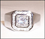 Mens Square Sterling Silver Ring I