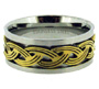 Stainless Steel Ring with Gold Tone Woven Rope Size 7 - 13