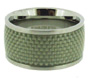 Wide Band Stainless Steel Ring with Woven Matt Pattern 8 - 12