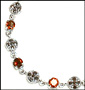 Marcasite Silver Bracelet with Created Garnet
