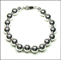 "Sterling Silver 12 mm Bead Bracelet  (8"" - 8.5"")"
