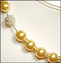 "Swarovski Gold Pearl  (12mm) Necklace with Rondelle (Plus Size 18"")"
