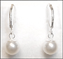 Swarovski White Pearl  Leverback Earrings in Silver (8 mm)