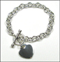 "Heart Charm Tag Toggle Link Silver Bracelet  8"" - 8.5"""